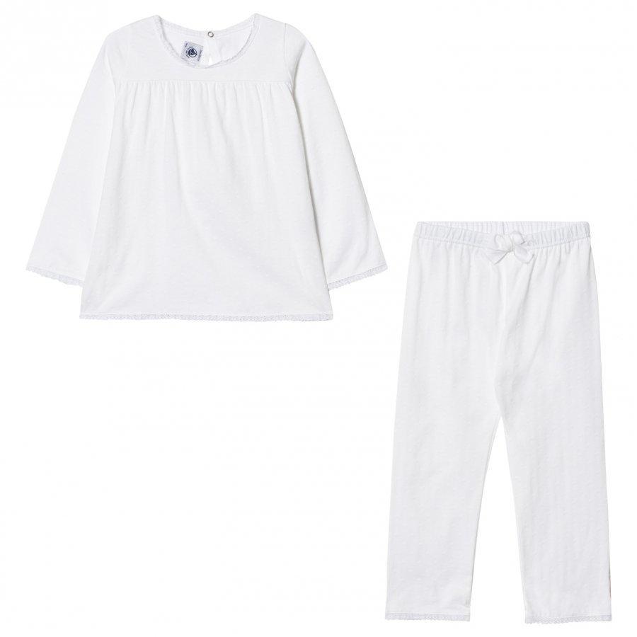 Petit Bateau White Embossed Lace Pyjamas Yöpuku