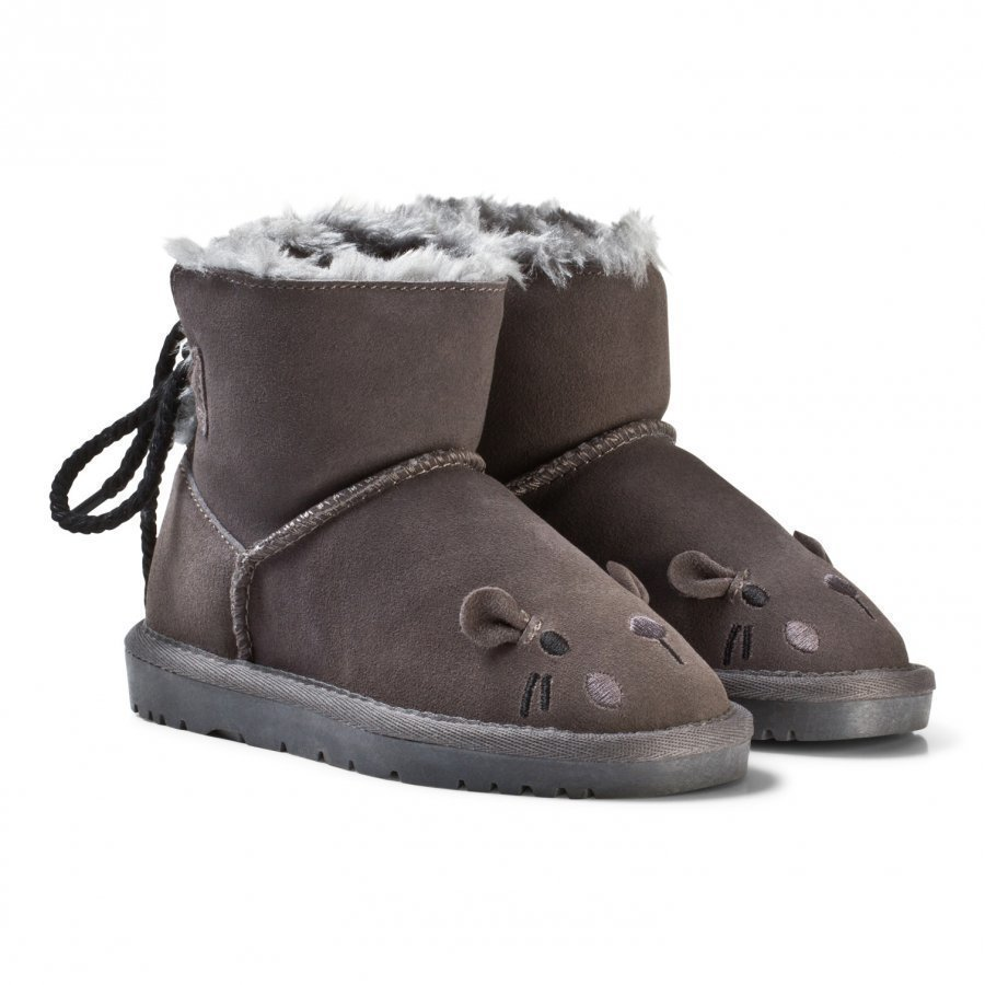 Petit By Sofie Schnoor Boot Teddy W. Lace Mouse Dark Grey Talvisaappaat