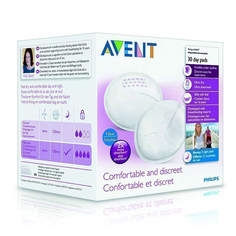 Philips Avent Disposable Breast Pads 30 Pack Day Imetystarvike