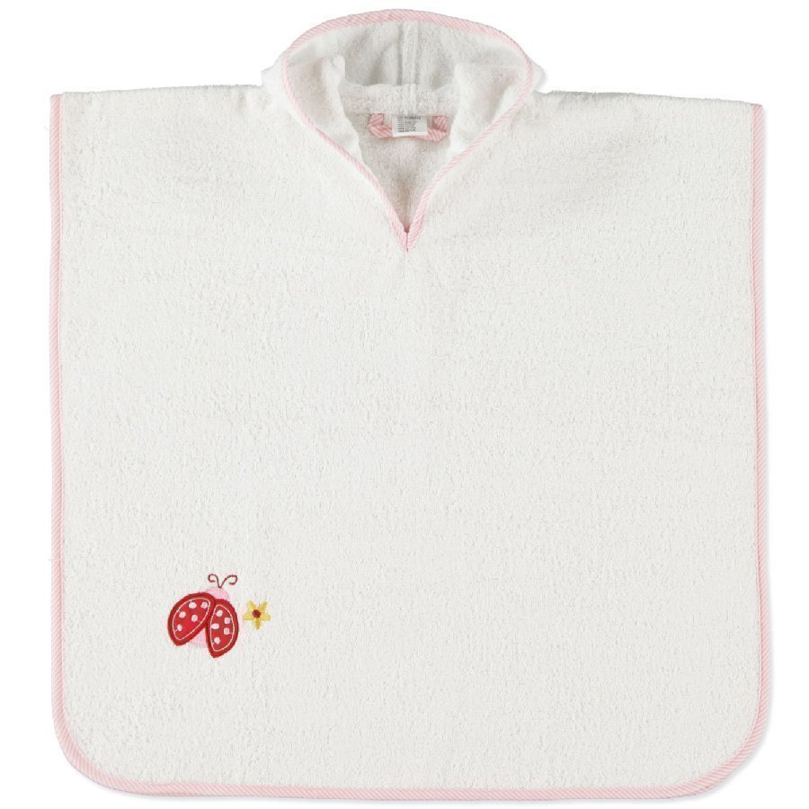 Pink Or Blue Hupullinen Kylpyponcho Leppäkerttu Valkoinen / Vaaleanpunainen