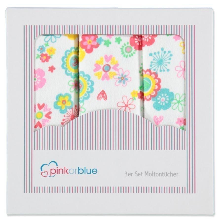 Pink Or Blue Molton Alunen 3 Kpl Kukat