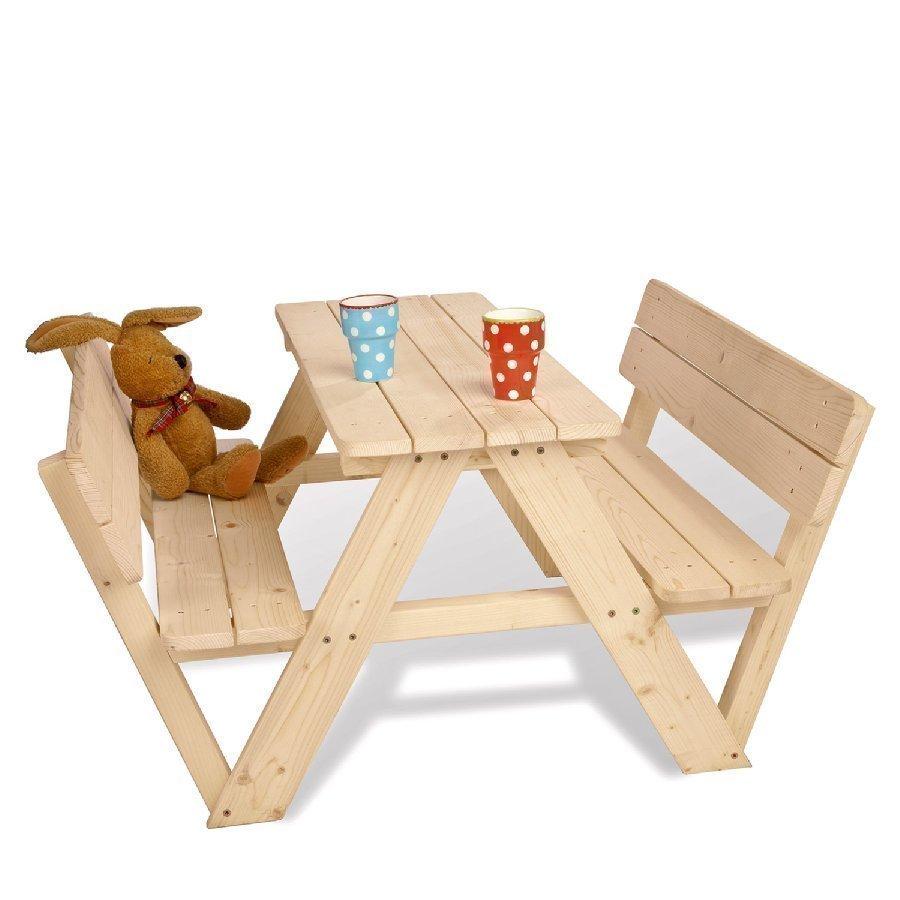 Pinolino Lastenpiknikpöytä Nicki Neljälle Selkänojilla