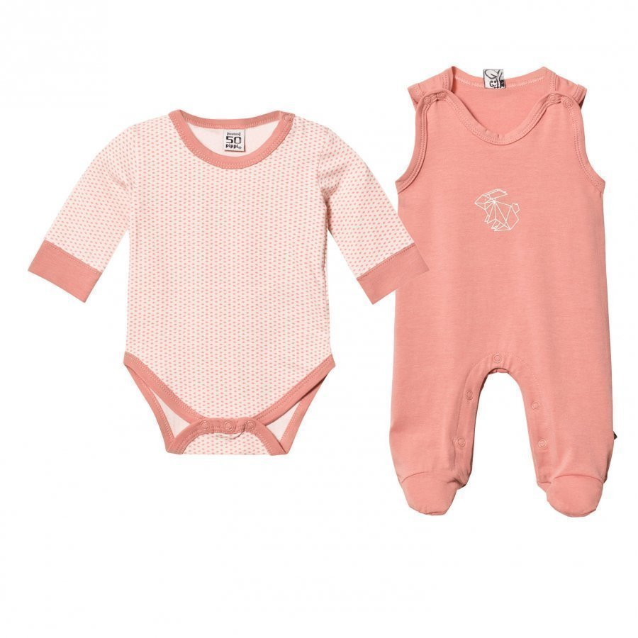 Pippi 2-Pack Footed Baby Body/Baby Body Rose Dawn Romper Puku