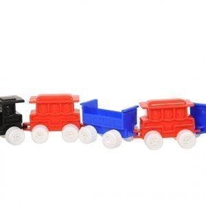 Plasto Veturi + 4 Vaunua Sininen Punainen 45 Cm