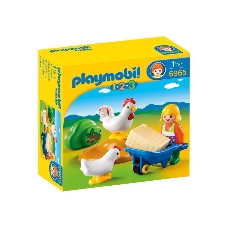 Playmobil 1 2 3 Maatilan Emäntä Ja Kanat 6965