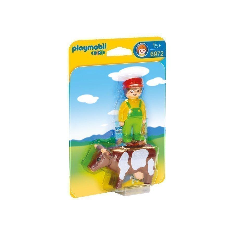 Playmobil 1 2 3 Maatilan Isäntä Ja Lehmä 6972