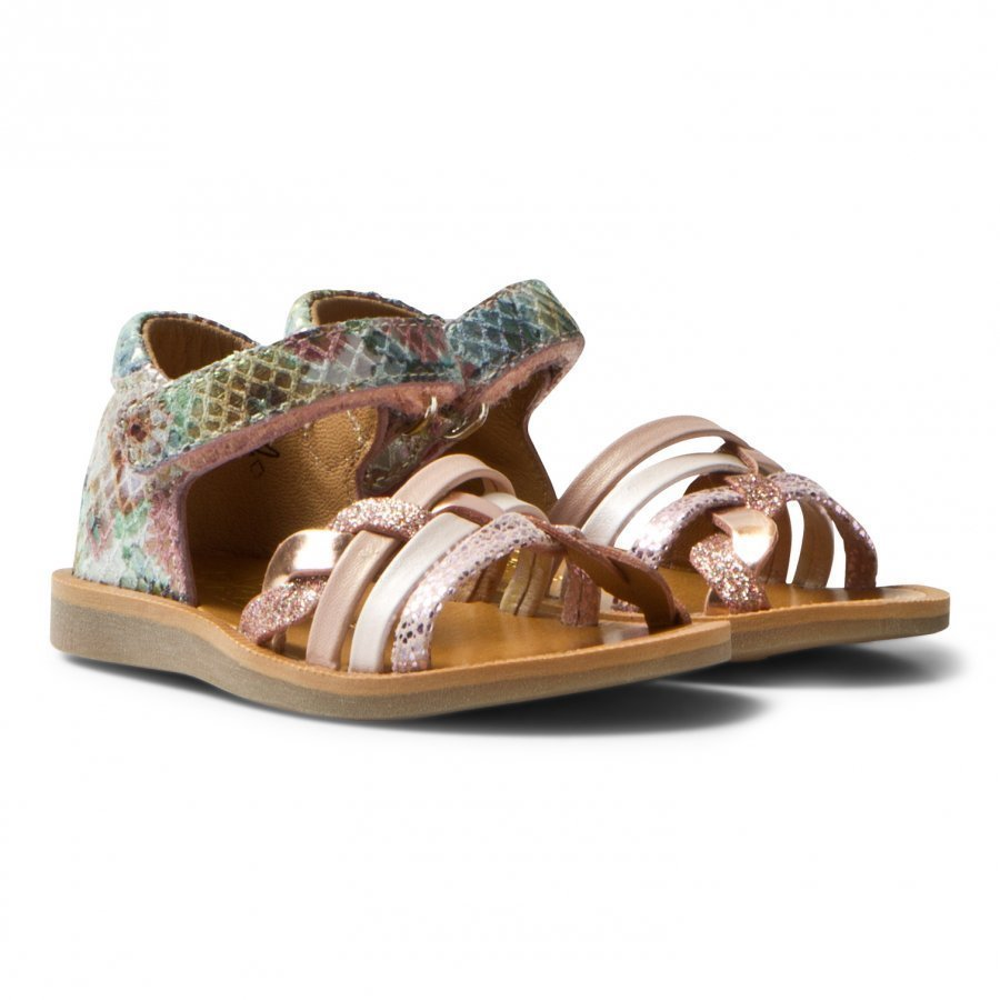Pom Dapi Pink Metallic Poppy Braided Sandals Remmisandaalit