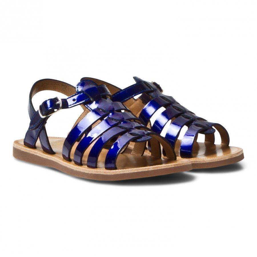 Pom Dapi Plagette Strap Sandals Blue Shiny Remmisandaalit