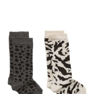 Popupshop Socks (2 Pair) Leo Grey/Black + Tiger Off White/Black