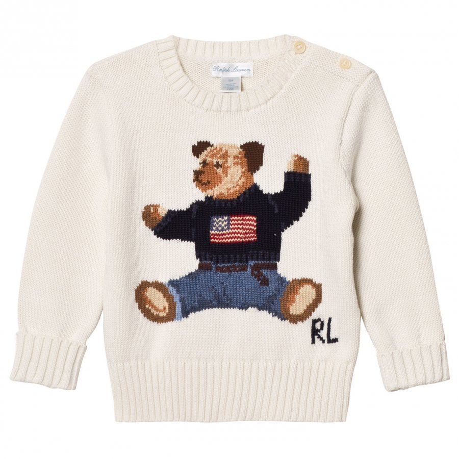 Ralph Lauren Bear Infant Sweater Warm White Oloasun Paita