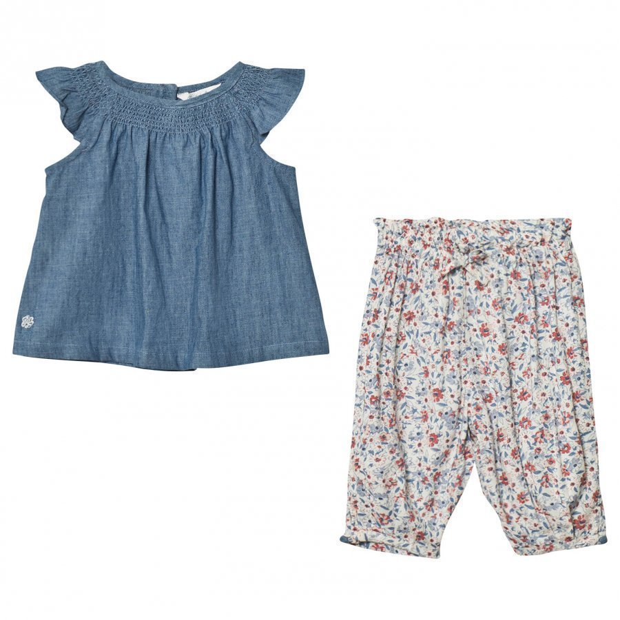 Ralph Lauren Blue Chambray Top And Floral Trouser Set Asusetti