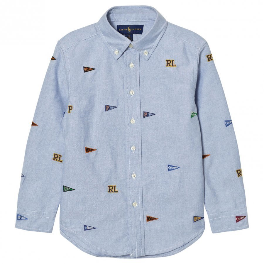 Ralph Lauren Blue Embroidered Flag Shirt Kauluspaita