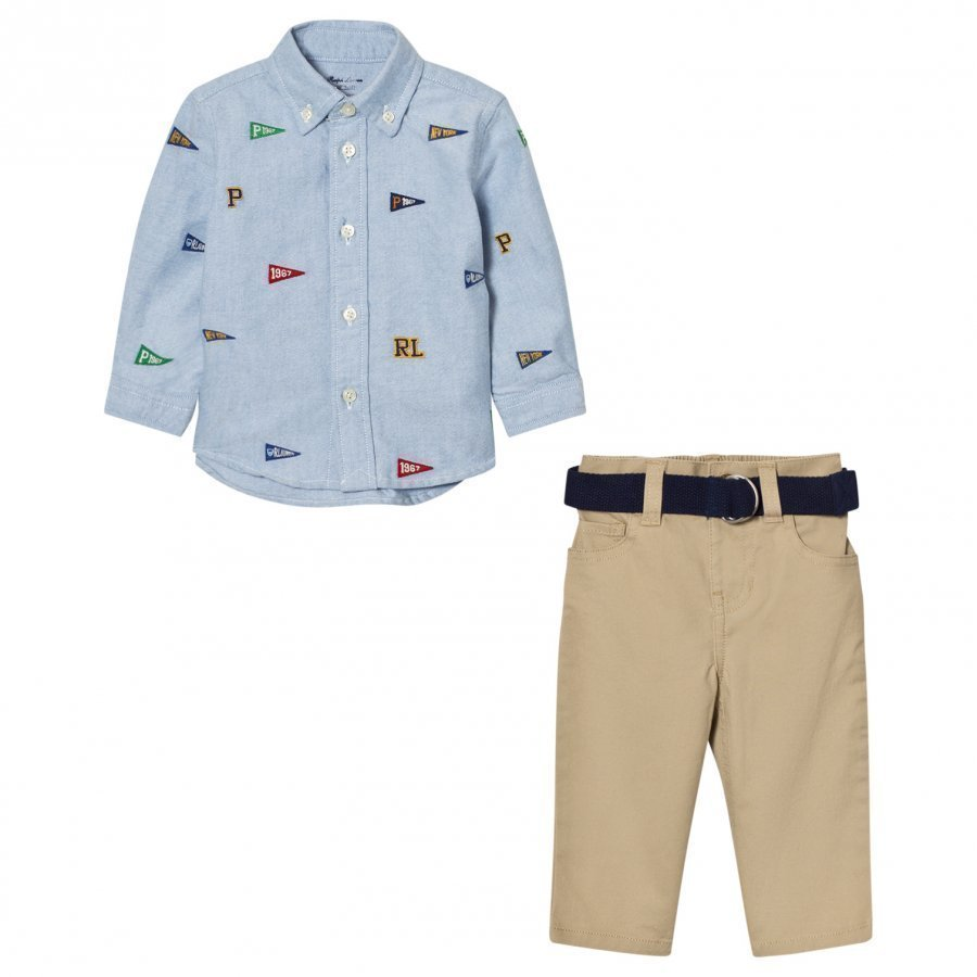 Ralph Lauren Blue Flag Shirt And Chinos Set Asusetti