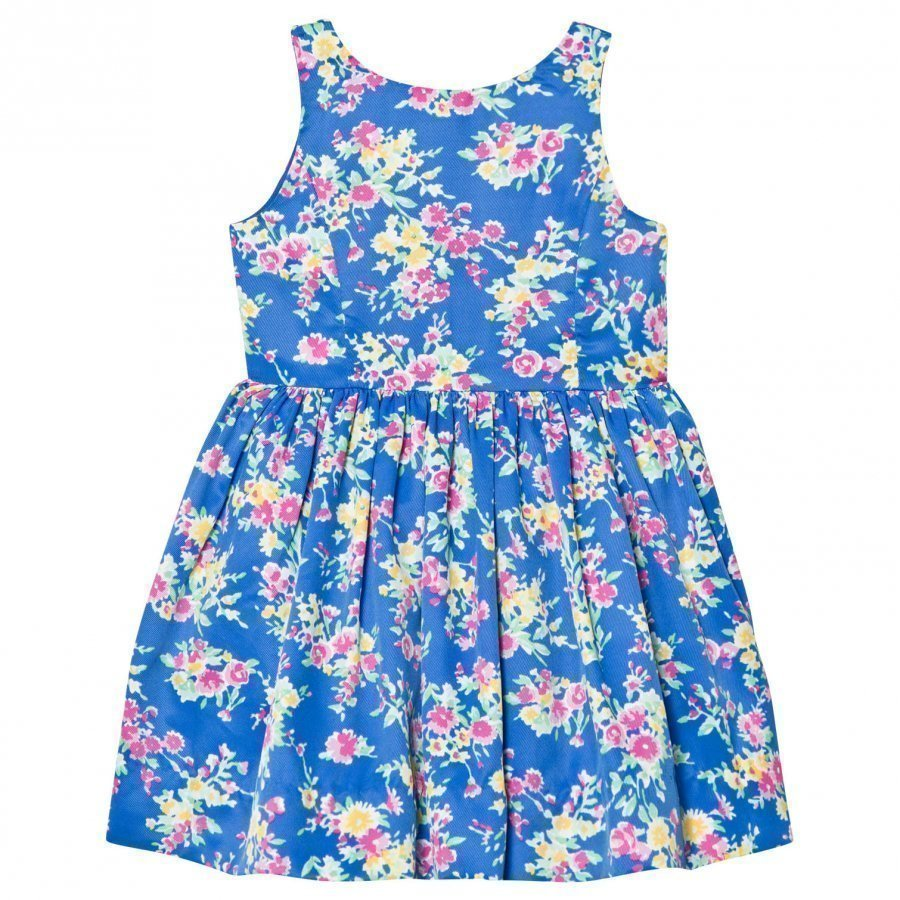 Ralph Lauren Blue Floral Print Party Dress Juhlamekko