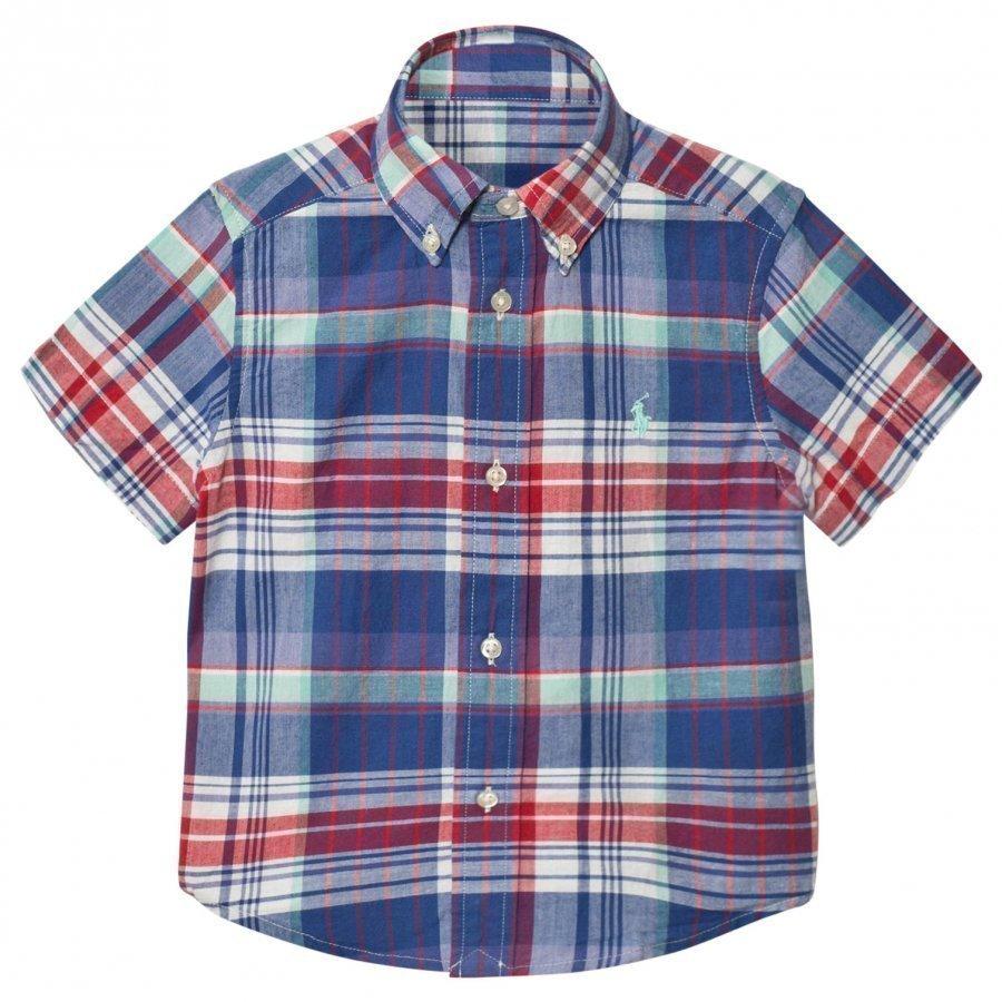 Ralph Lauren Blue Red Madras Check Shirt Kauluspaita