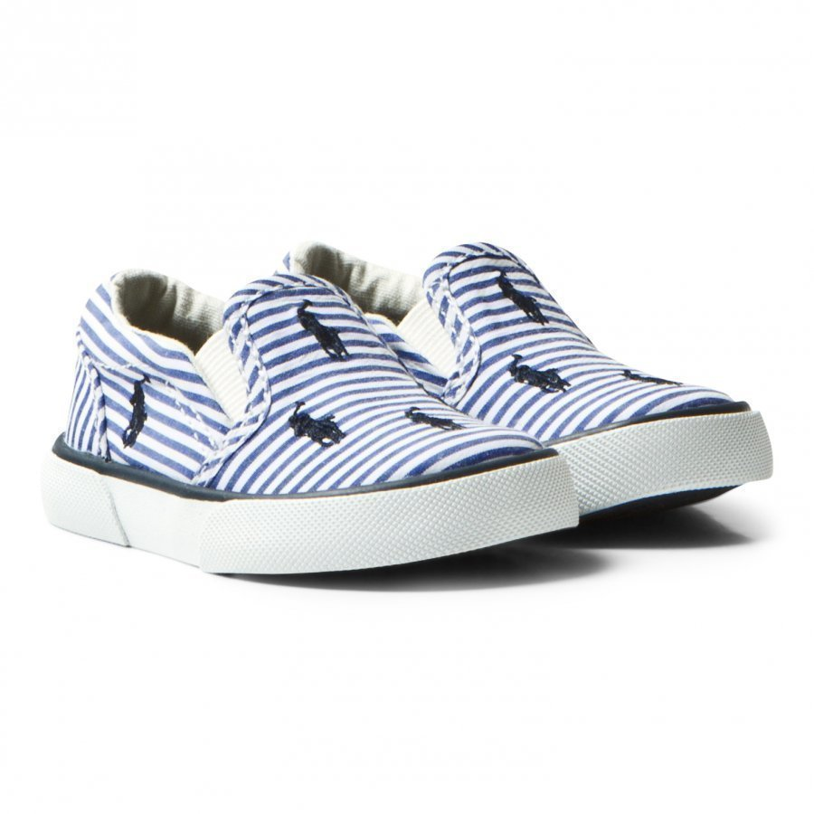 Ralph Lauren Blue Stripe Poplin Bal Harbour Slip Ons Slip On Kengät