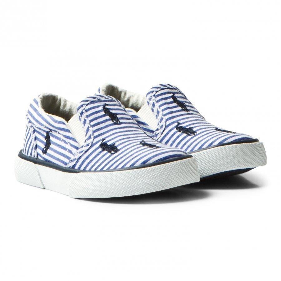 Ralph Lauren Blue Stripe Poplin Bal Harbour Slip Ons Slip On Kengät