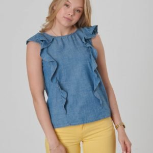 Ralph Lauren Chambray Top Tops Shirt Toppi Sininen