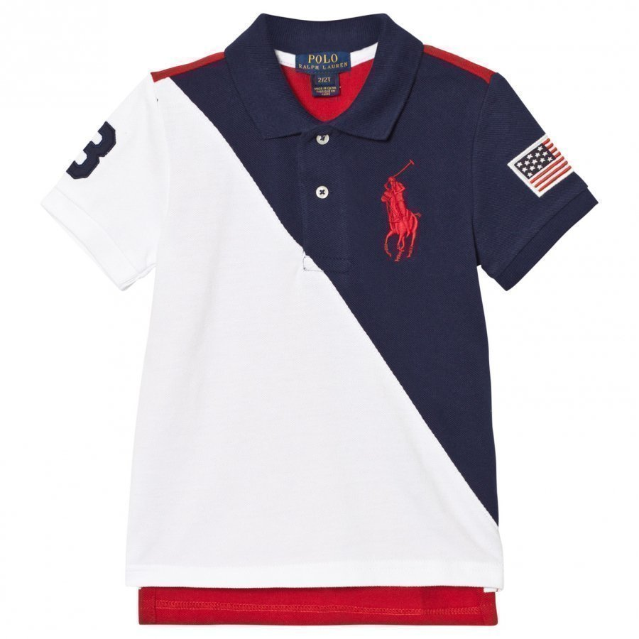 Ralph Lauren Color-Blocked Cotton Mesh Polo Navy White And Red Pikeepaita