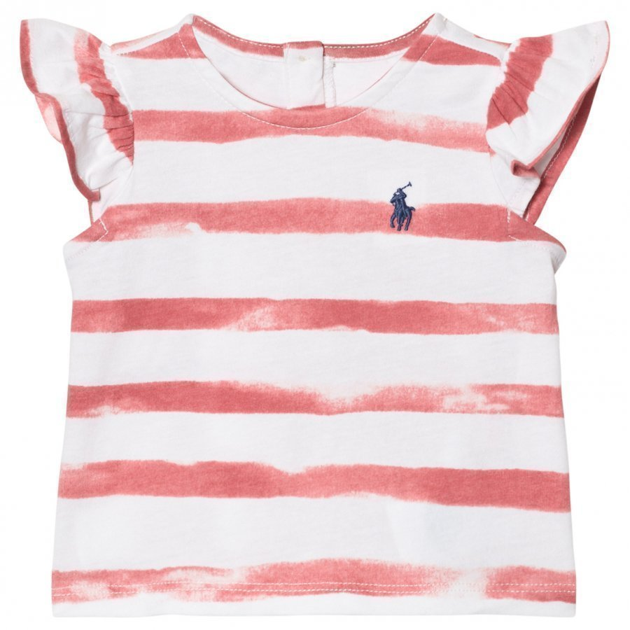 Ralph Lauren Cotton Flutter-Sleeve Tee Salmon Berry Pink And White Liivi