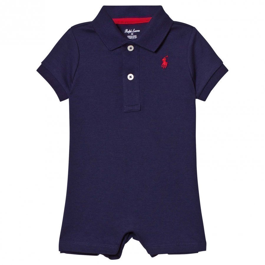 Ralph Lauren Cotton Interlock Polo Romper French Navy Romper Puku