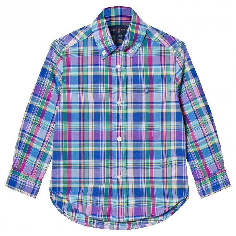 Ralph Lauren Cotton Madras Shirt Blue/Pink Multi Kauluspaita