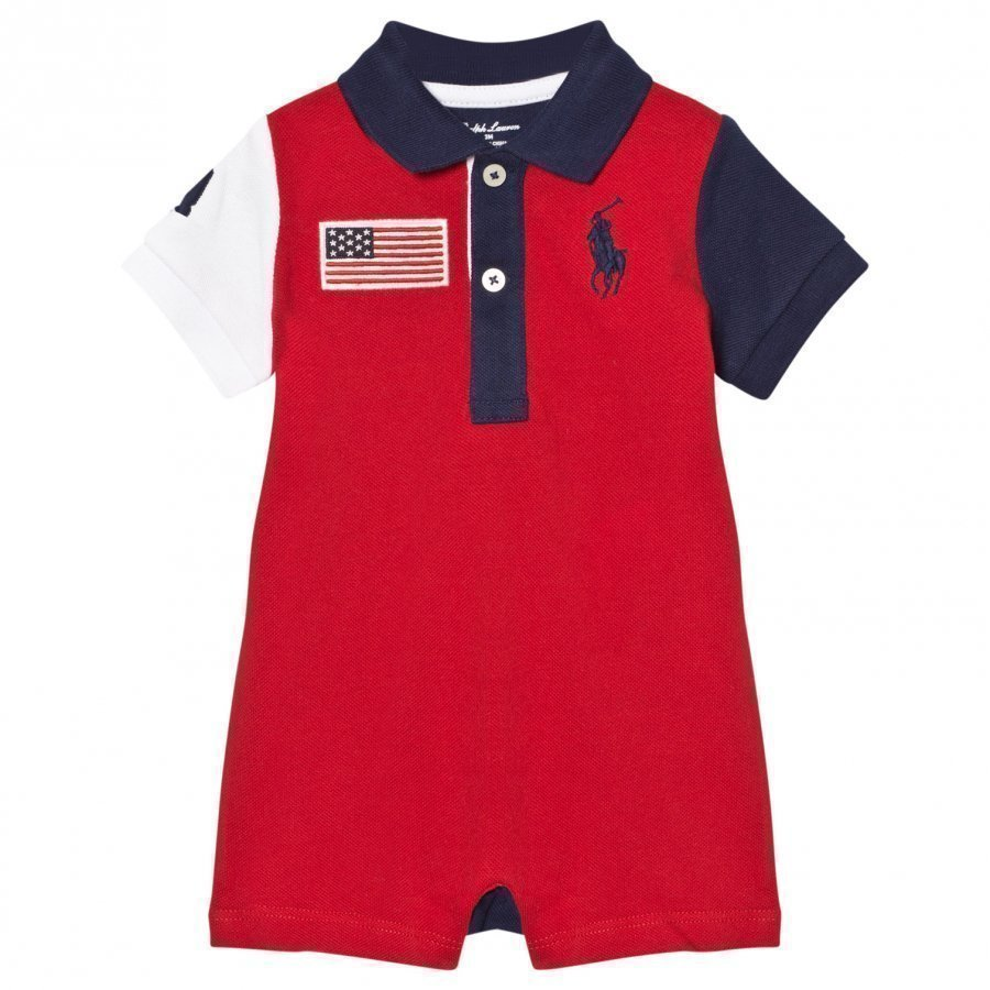 Ralph Lauren Cotton Mesh Polo Shortall Red Romper Puku