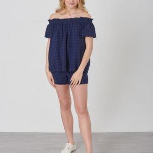 Ralph Lauren Eyelet Top Tops Shirt Toppi Sininen