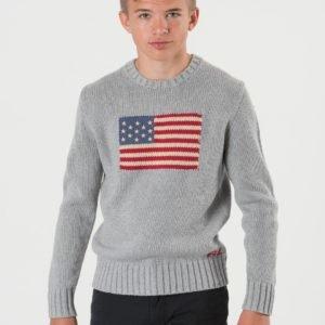 Ralph Lauren Flag Crew Neck Sweater Neule Harmaa