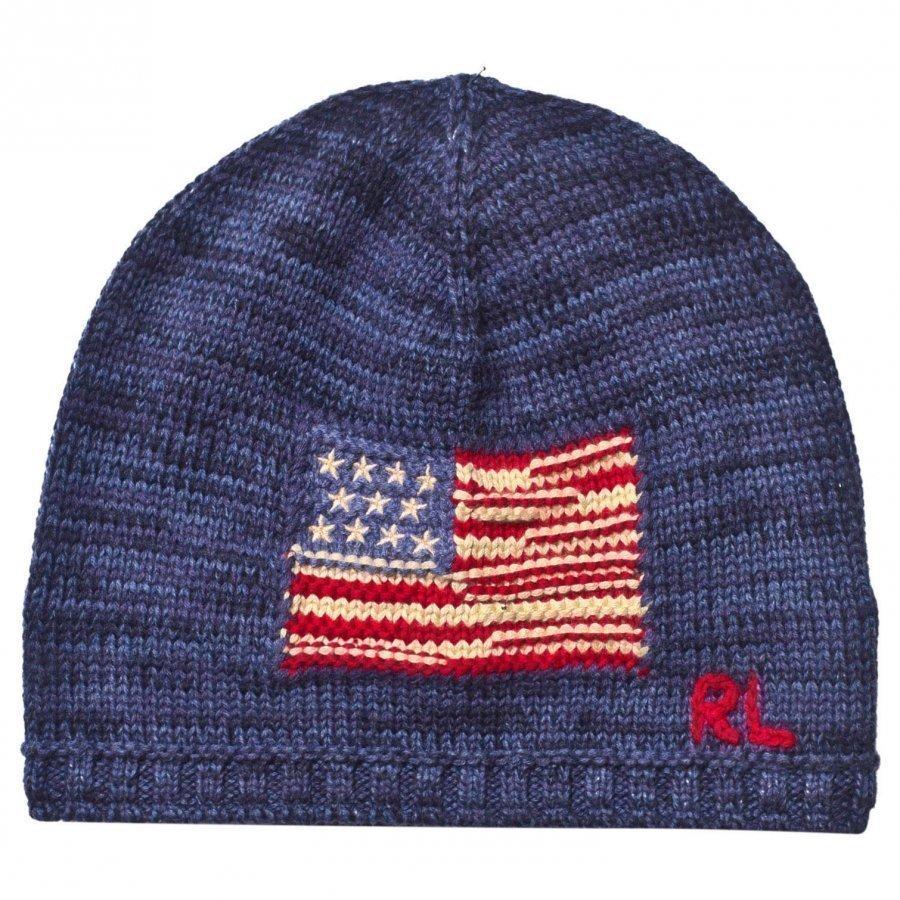 Ralph Lauren Flag Knitted Beanie Indigo Ragg Pipo