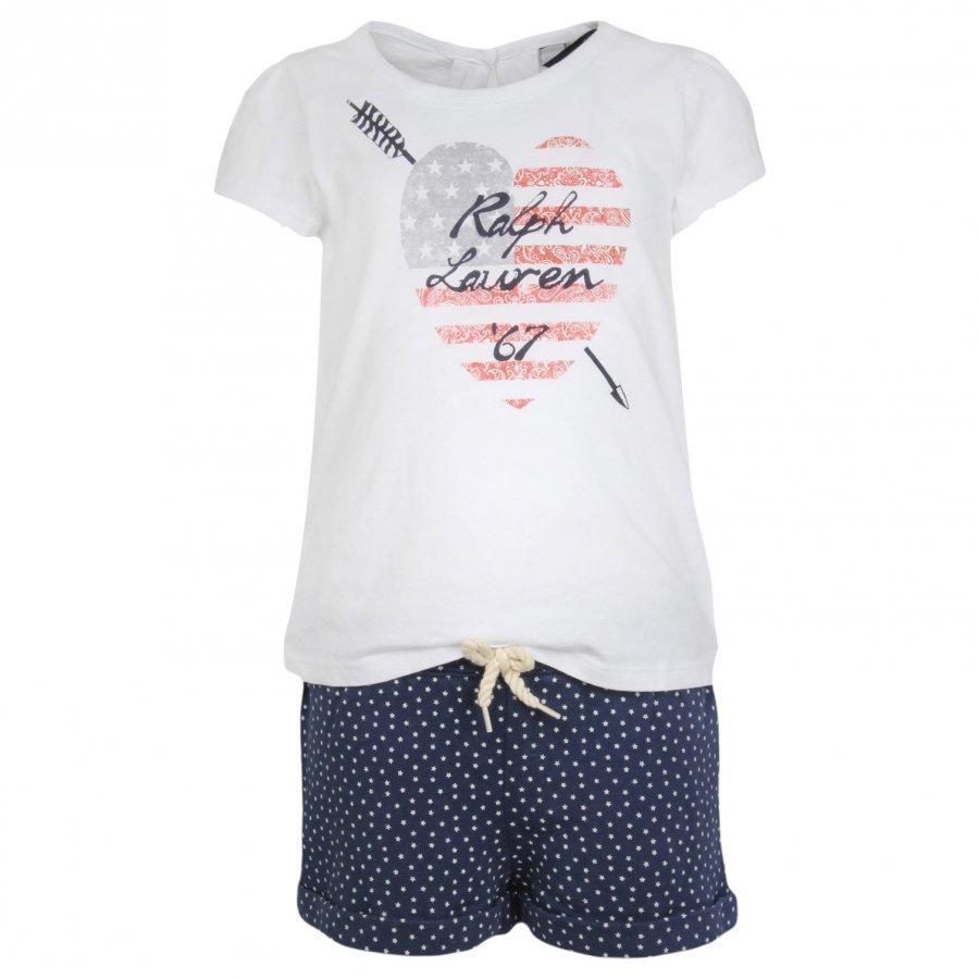 Ralph Lauren Graphic Tee & Star Shorts Set White Asu