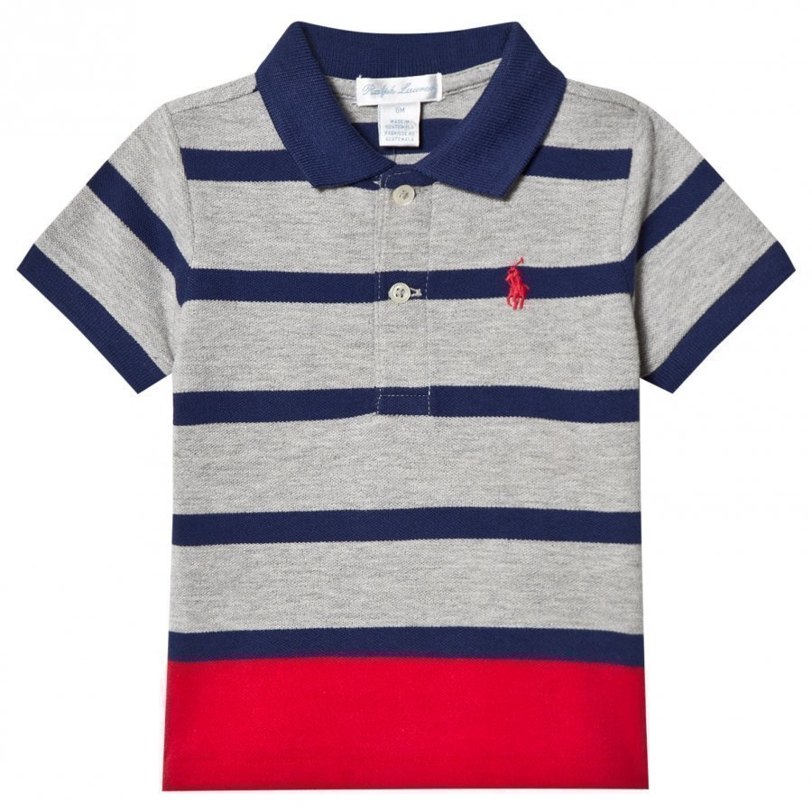 Ralph Lauren Grey Stripe Polo Shirt Pikeepaita