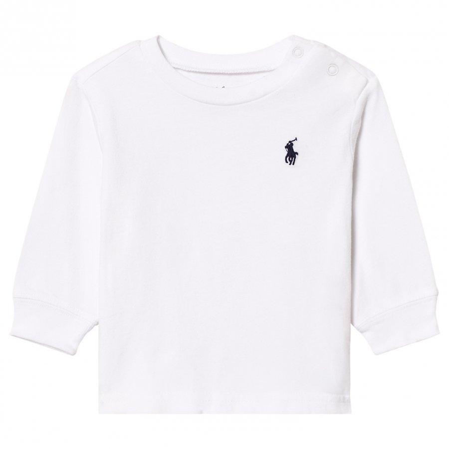 Ralph Lauren Jersey Crewneck Tee White Pitkähihainen T-Paita