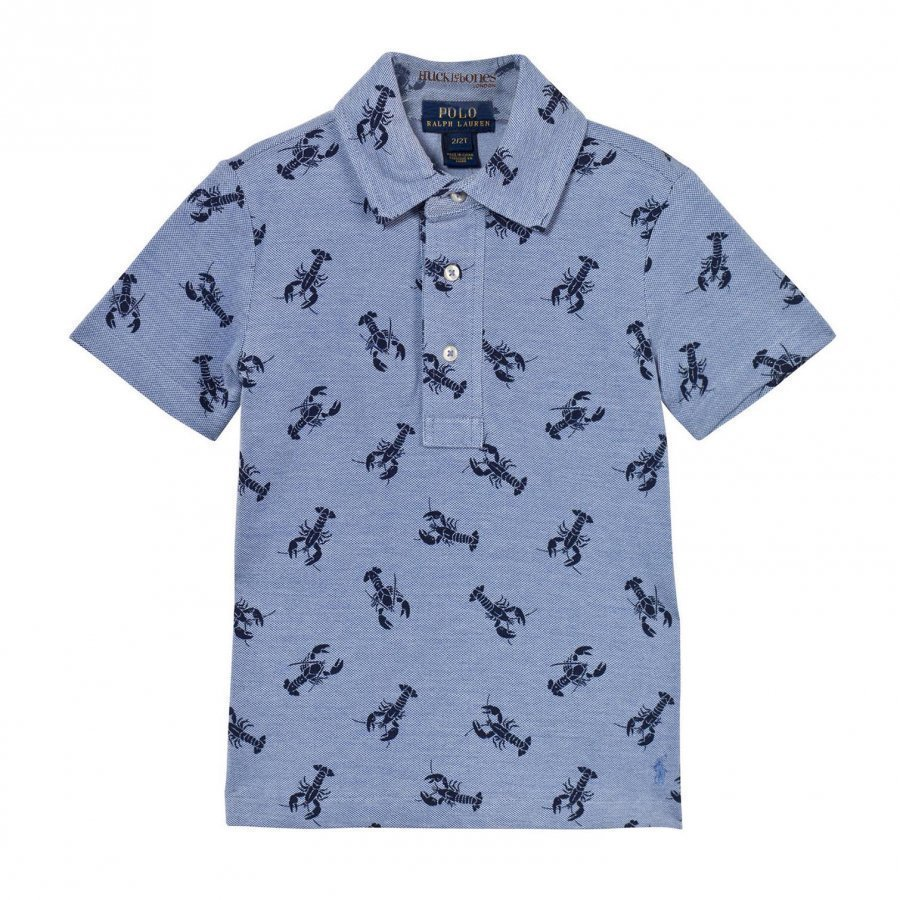 Ralph Lauren Lobster-Print Cotton Mesh Polo Bsr Blue Pikeepaita
