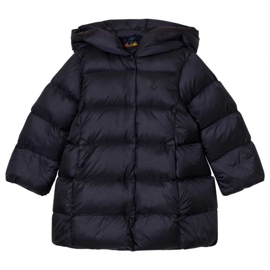 Ralph Lauren Long Quilted Hooded Down Coat Navy Parkatakki