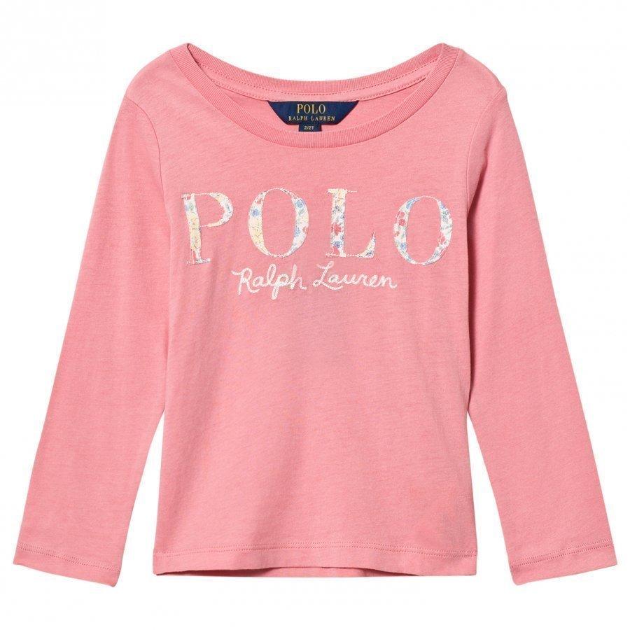 Ralph Lauren Long Sleeve Floral Applique Tee Pink Pitkähihainen T-Paita