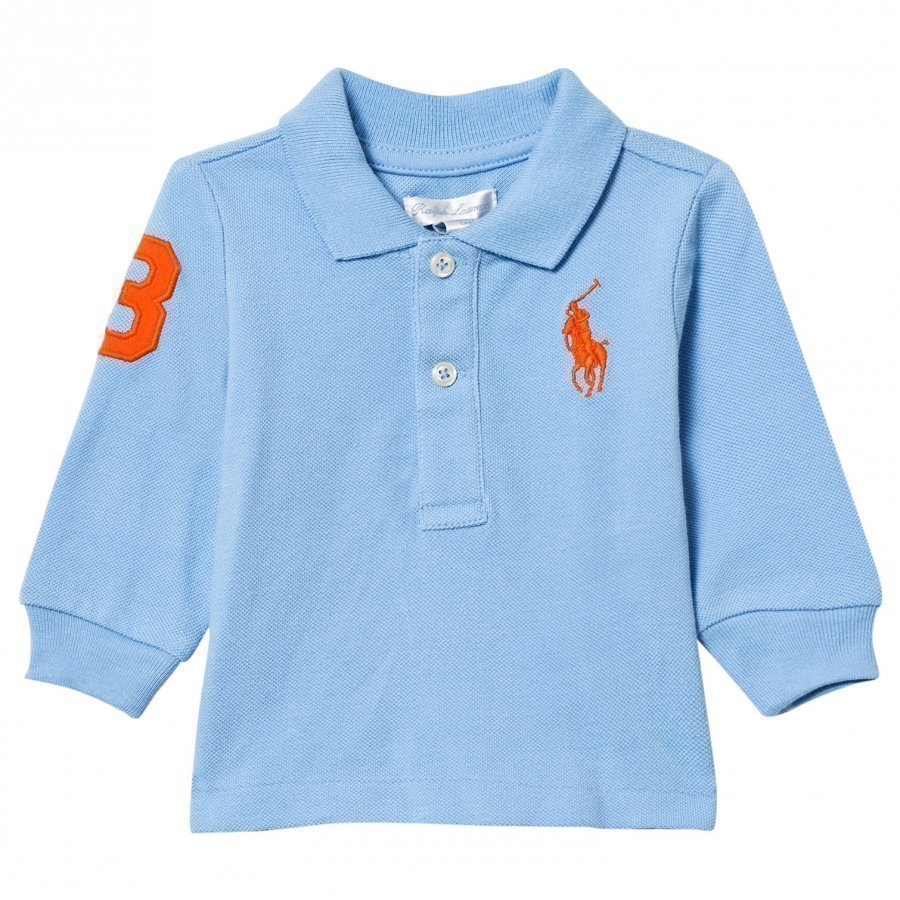 Ralph Lauren Mesh Long Sleeve Polo Chatham Blue Pikeepaita