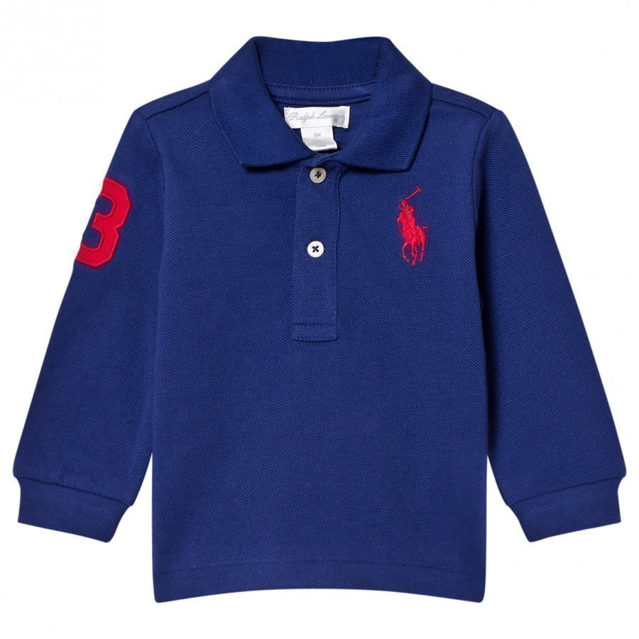 Ralph Lauren Mesh Long Sleeve Polo Royal Blue Pikeepaita