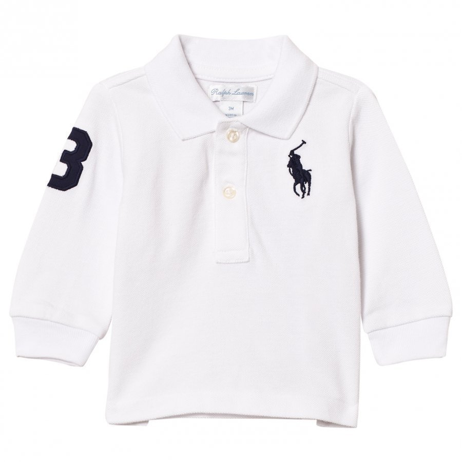 Ralph Lauren Mesh Long Sleeve Polo White Pikeepaita