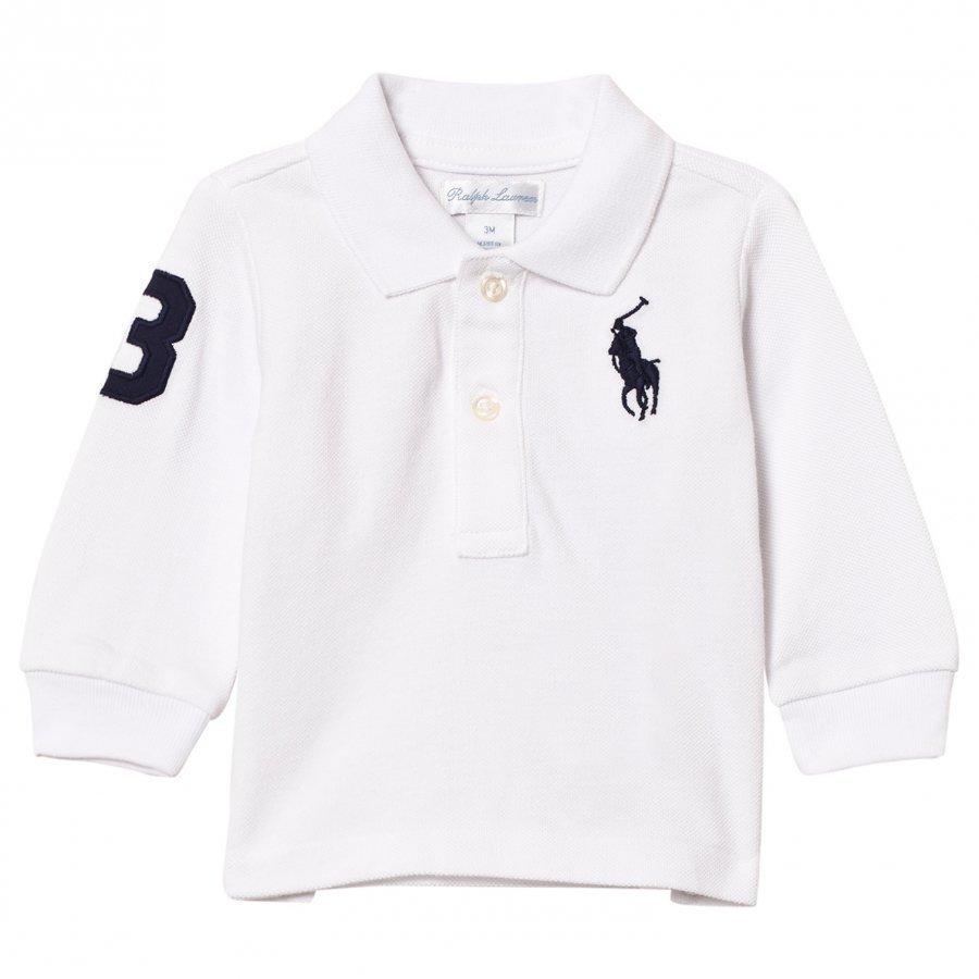 Ralph Lauren Mesh Long Sleeve Polo White Pikeepaita