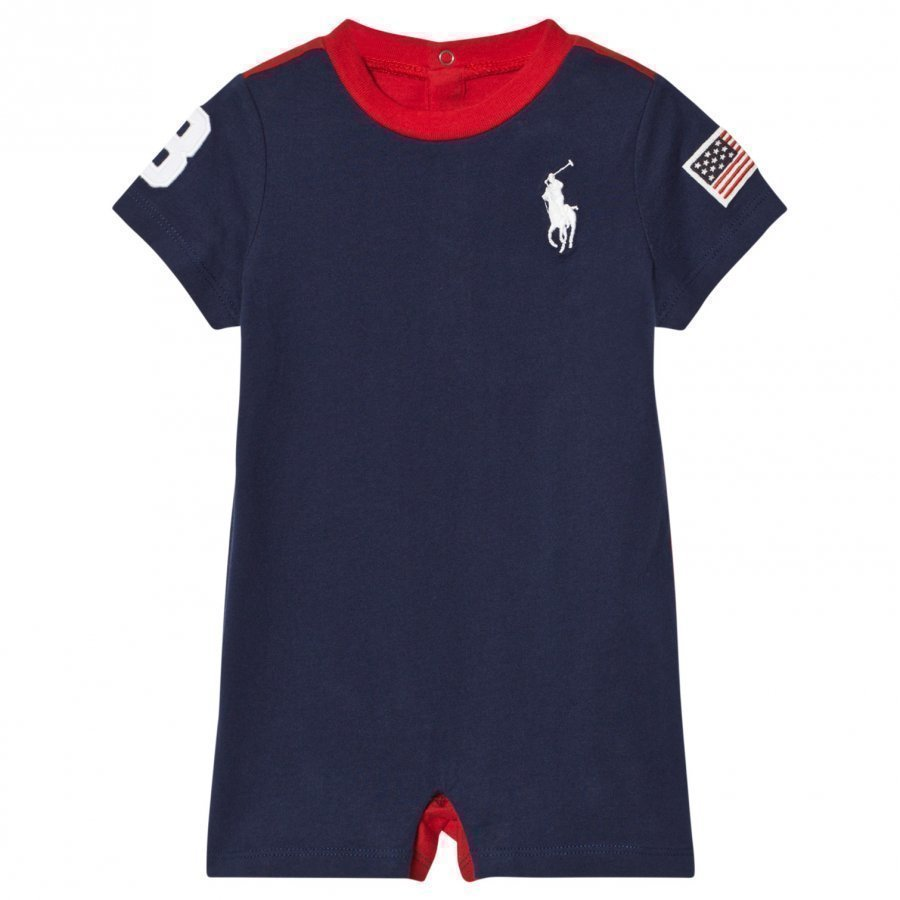 Ralph Lauren Navy Jersey Big Pony And Usa Applique Romper Puku