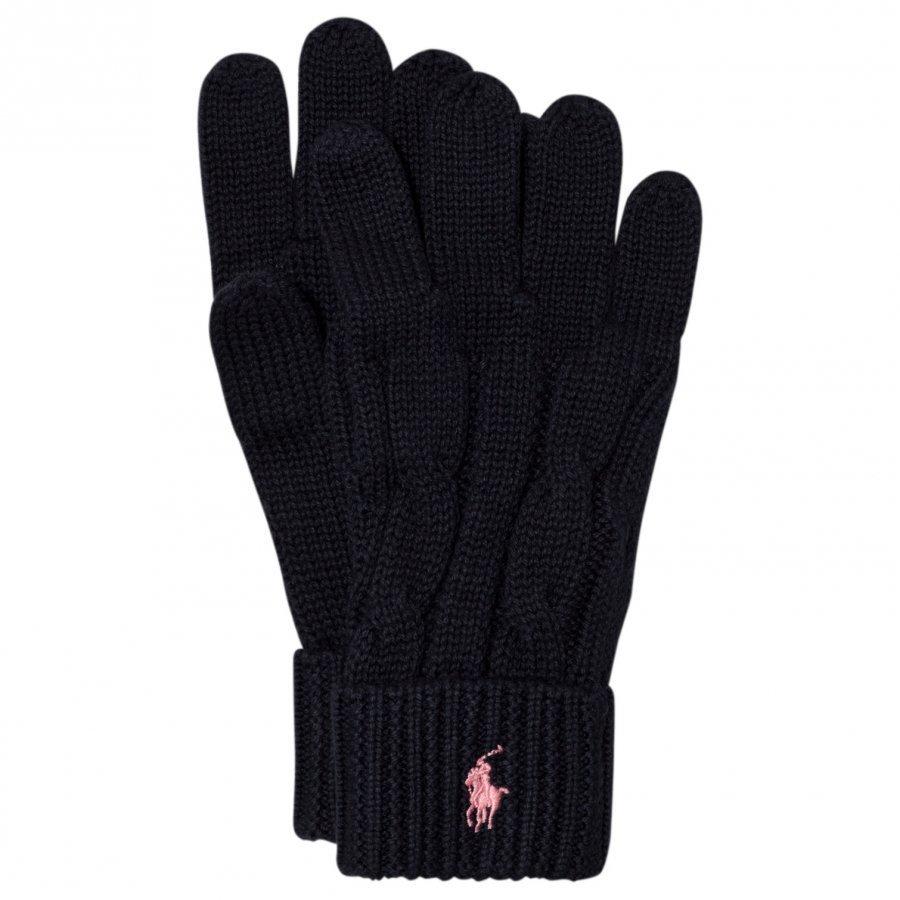 Ralph Lauren Navy Knit Gloves Fleece Hanskat