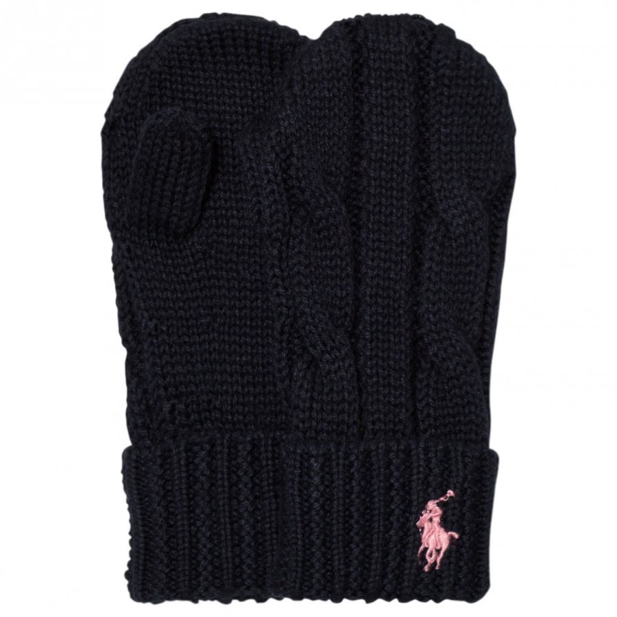 Ralph Lauren Navy Knit Mittens Fleece Lapaset