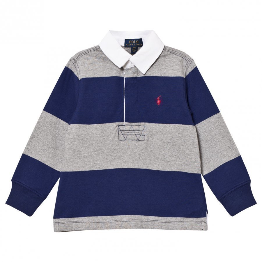 Ralph Lauren Navy/Grey Stripe Long Sleeve Rugby Shirt Pikeepaita
