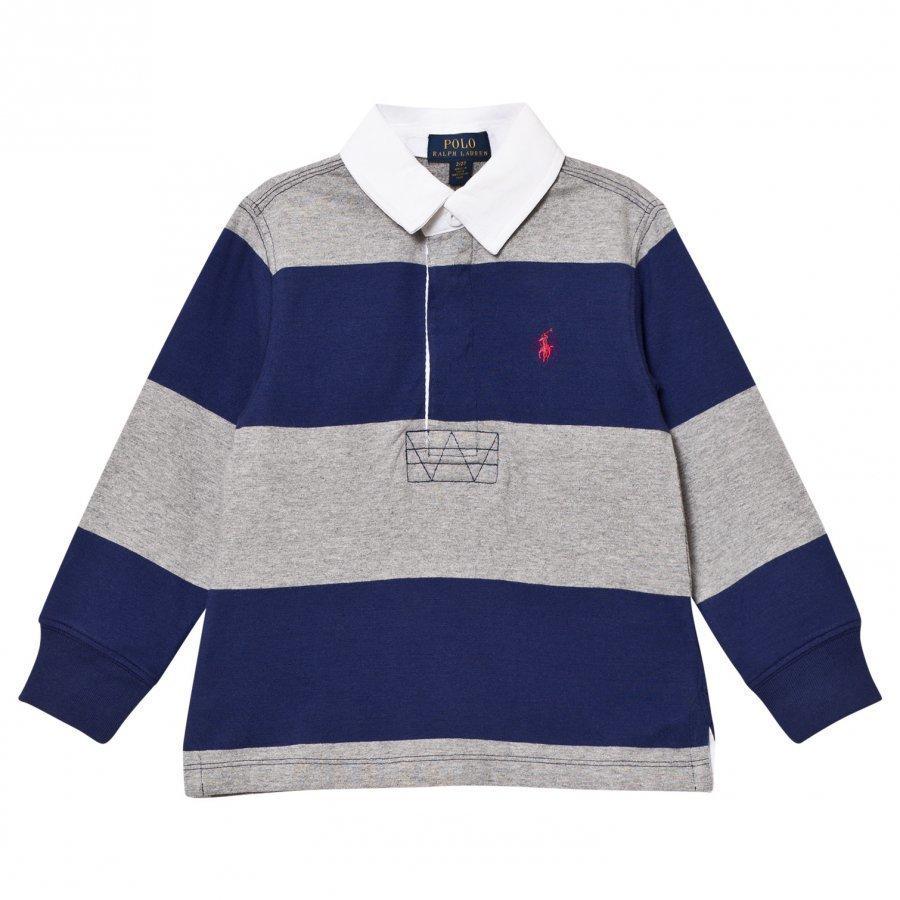 Ralph Lauren Navy/Grey Stripe Long Sleeve Rugby Shirt Pikeepaita