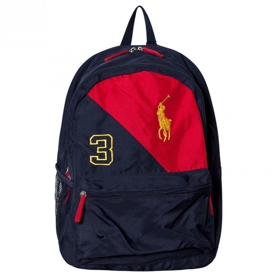 Ralph Lauren Navy/Red Banner Logo Backpack Reppu