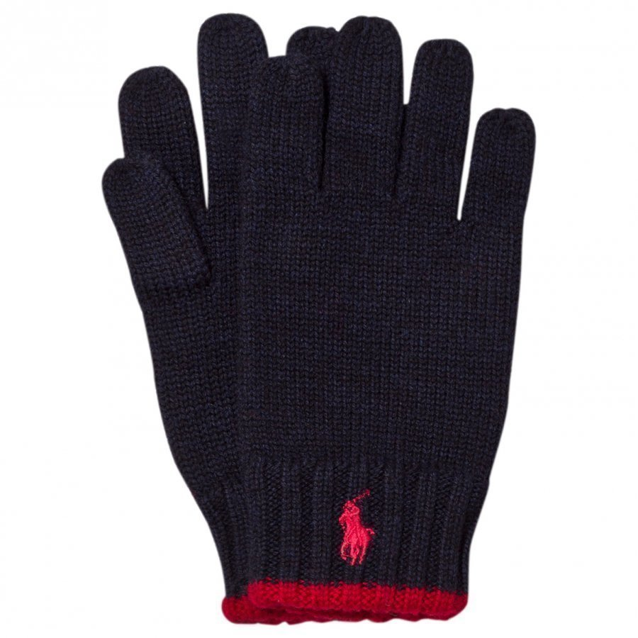 Ralph Lauren Navy/Red Merino Gloves Fleece Hanskat