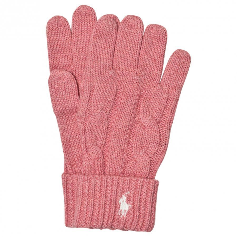 Ralph Lauren Pink Knit Gloves Fleece Hanskat