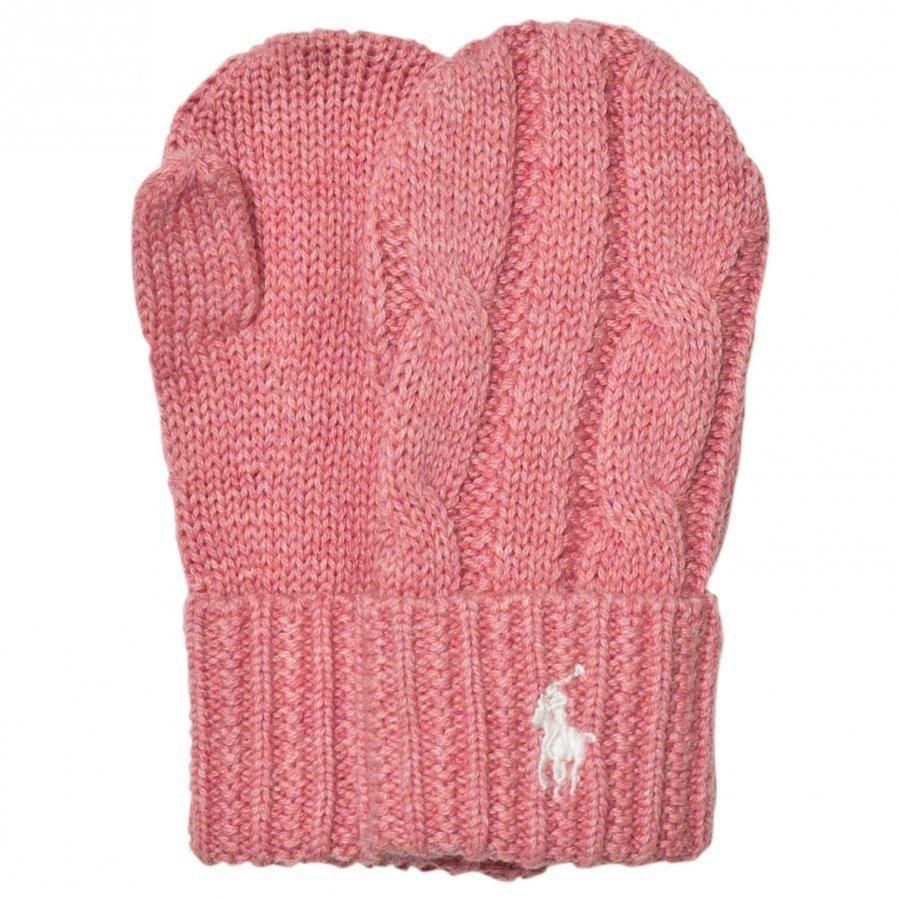 Ralph Lauren Pink Knit Mittens Fleece Lapaset