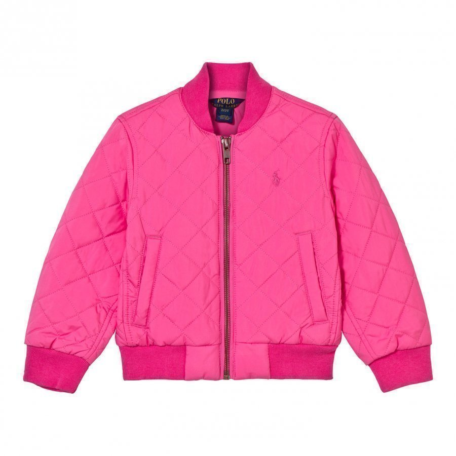 Ralph Lauren Quilted Baseball Jacket Madison Pink College Takki